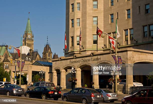 The entrance to the famed Fairmont Chateau Laurier Hotel is viewed on June 30 2012 in Ottawa Canada Ottawa the captial of Canada is the fourth...