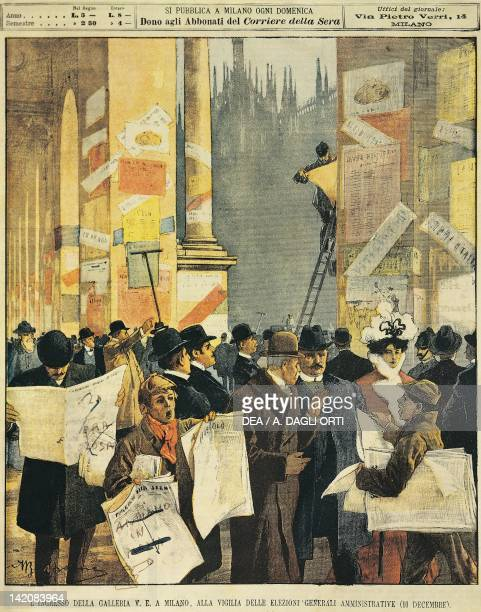 The entrance to the Galleria Vittorio Emanuele in Milan on the eve of the general administrative election Illustrator Achille Beltrame from La...