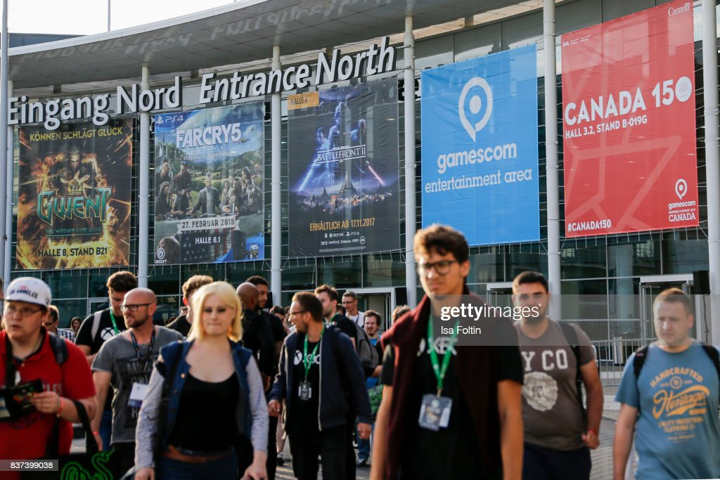 The entrance to the Gamescom 2017 gaming trade fair on August 22, 2017 in Cologne, Germany. Gamescom is the world's largest digital gaming trade fair and will be open to the public from August 22-26.