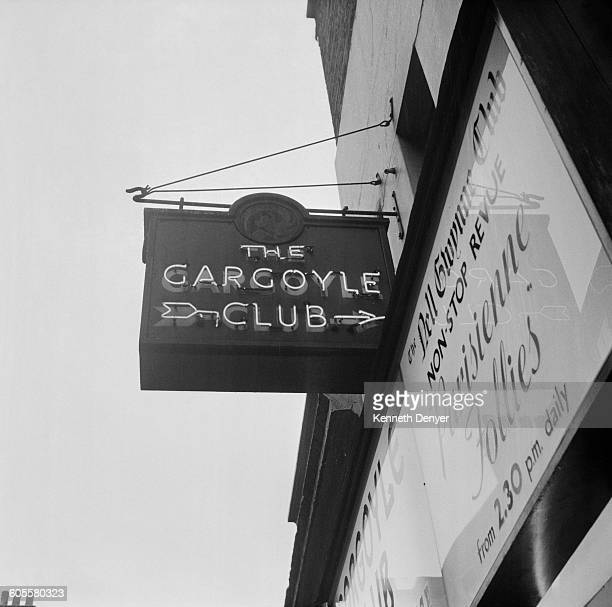 The entrance to the Gargoyle Club a private members' club situated above the Nell Gwynne Club at 69 Dean Street Soho London 24th August 1958