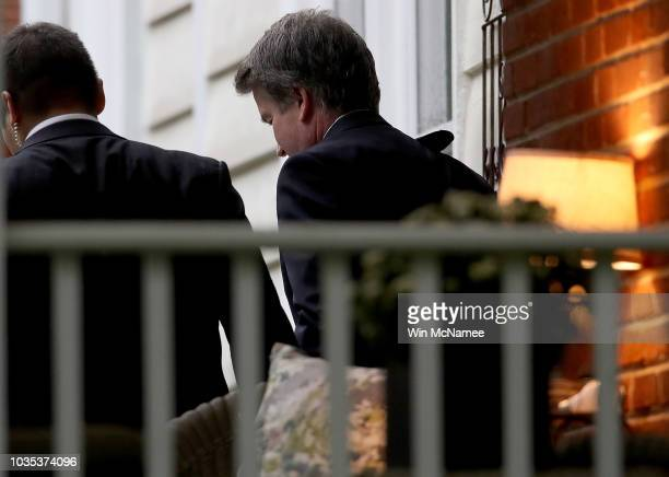 The entrance to the Georgetown Preparatory School is shown on September 18 2018 in Bethesda Maryland Supreme court nominee Brett Kavanaugh attended...