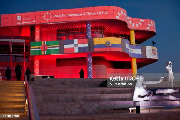The entrance to the Getty Museum in Los Angeles is seen during the opening celebration of the Pacific Standard Time: LA/LA event in Los Angeles on...