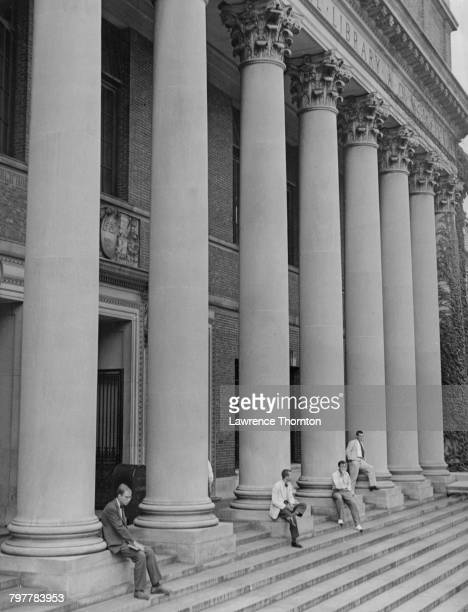 The entrance to the Harry Elkins Widener Memorial Library at Harvard University in Cambridge Massachusetts circa 1960