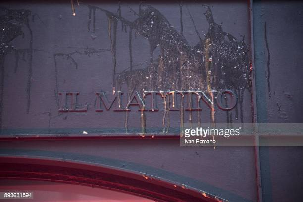 The entrance to the headquarters of the newspaper Il Mattino smeared with eggs thrown by the students during the demonstration in the streets of...