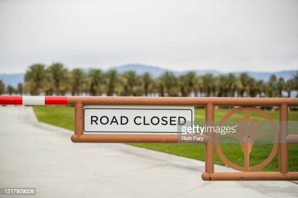 The entrance to the Indian Wells Tennis Garden is seen on April 09 2020 in Indian Wells California The first weekend of the Coachella Valley Music...