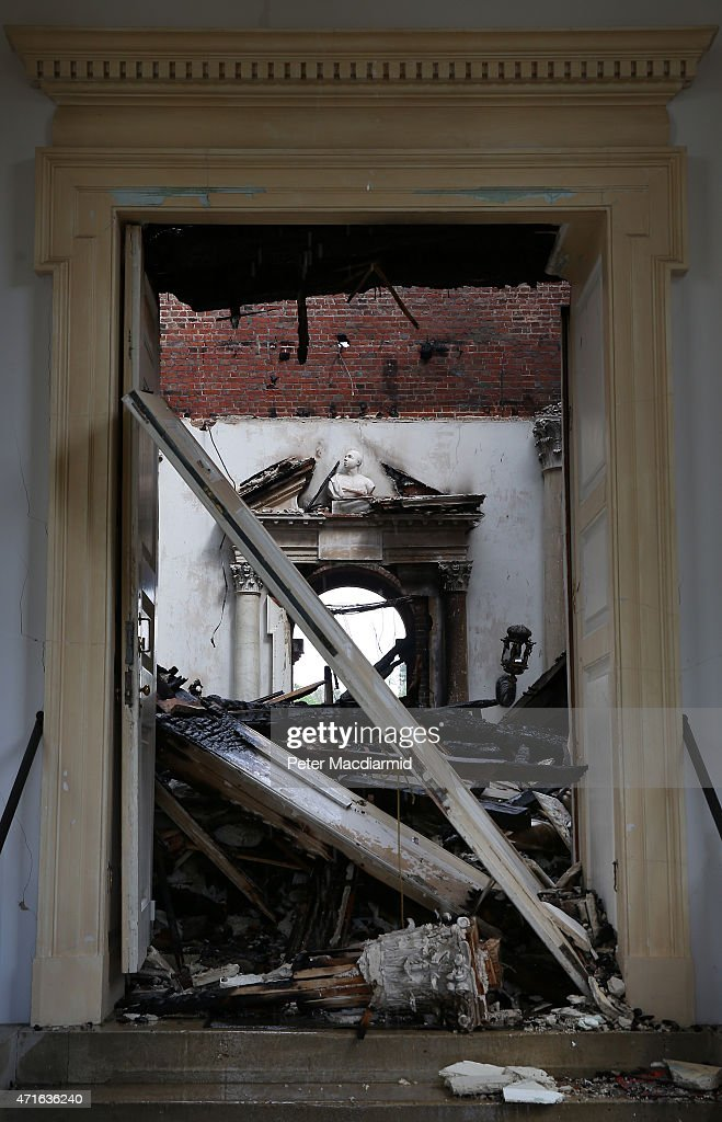 The entrance to The Marble Hall at Clandon Park House is blocked by fallen timbers on April 30, 2015 near Guildford, England. Salvage operations have begun to rescue antiques from the remains of the 18th century stately home after a fire gutted large parts of the building.