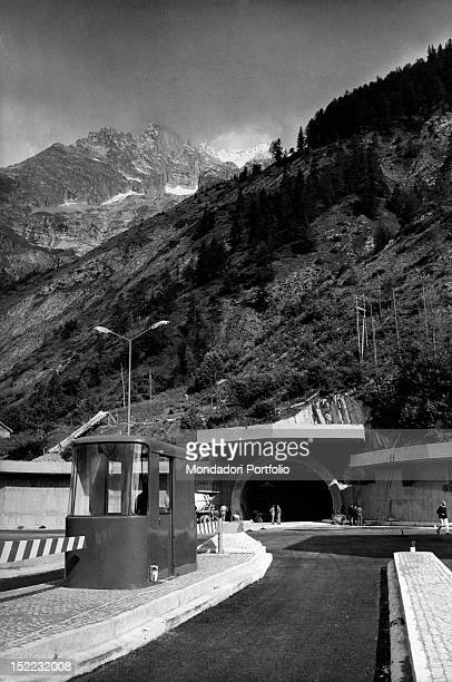 The entrance to the Mont Blanc tunnel on the Italian side Courmayeur July 1965