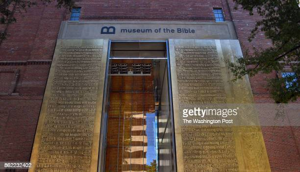 The entrance to the Museum of the Bible features relief metal lettering of scriptures in the Latin language The Museum of the Bible is a museum being...