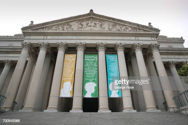 The entrance to the National Archives is viewed on June 6, 2017 in Washington, D.C. The nation's capital, the sixth largest metropolitan area in the...