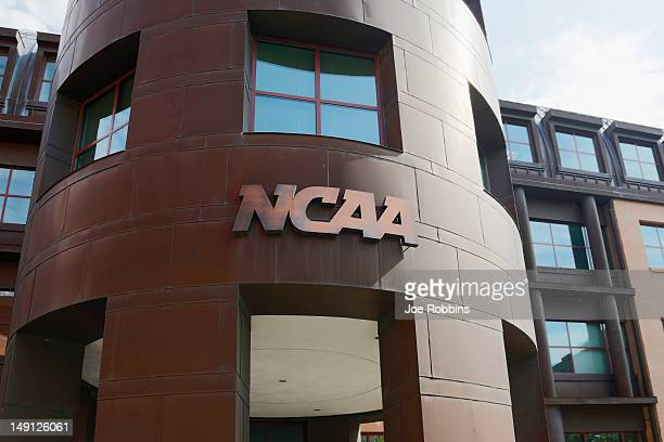 The entrance to the NCAA's headquarters is seen following an announcement of sanctions against Penn State University's football program on July 23,...