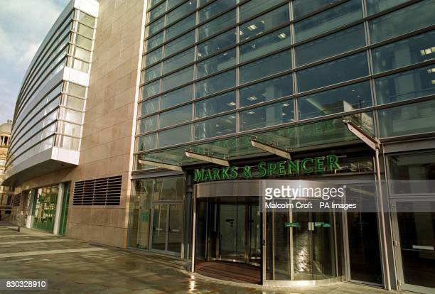 The entrance to the new Marks Spencer department store in the Arndale Centre Manchester rebuilt since the IRA bomb blast of 1996 destroyed a large...