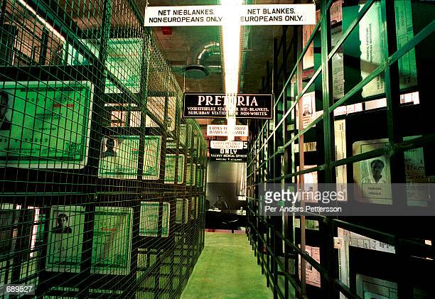 The entrance to the newly opened Apartheid Museum December 19 2001 in Johannesburg South Africa Every visitor is classified either as white or...