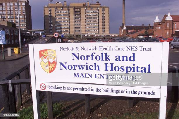 The entrance to the Norfolk and Norwich Hospital Norwich where dying gangster Reggie Kray is being treated for bladder cancer His lawyer said he was...