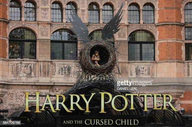 The entrance to the Palace Theatre is seen ahead of the premiere of the Harry Potter and the Cursed Child stage play in London on July 30 2016 / AFP...