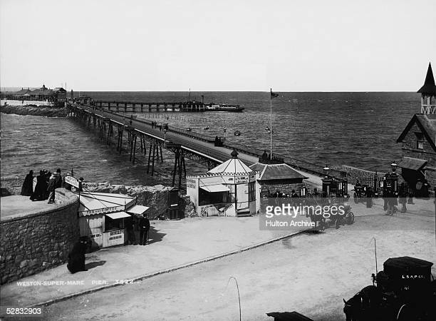 The entrance to the pier in the coastal resort of WestonsuperMare in North Somerset circa 1895