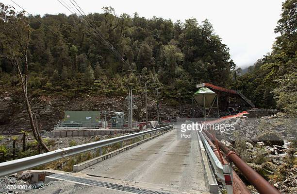 The entrance to the Pike River Coal mine is seen on November 21 2010 in Greymouth New Zealand Ambulance and emergency crews are on site at the Pike...