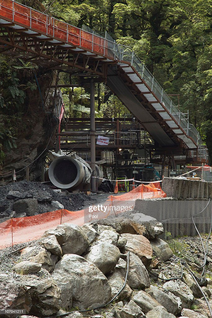 The entrance to the Pike River Coal mine is seen on November 21, 2010 in Greymouth, New Zealand. Ambulance and emergency crews are on site at the Pike River Coal underground mine after 29 miners were reported missing following a blast at the mine 50 kilometers north of Greymouth on New Zealand's west coast. Specialist safety rescue crews are on standby until air and gas levels are cleared as safe for the rescue operation to commence.