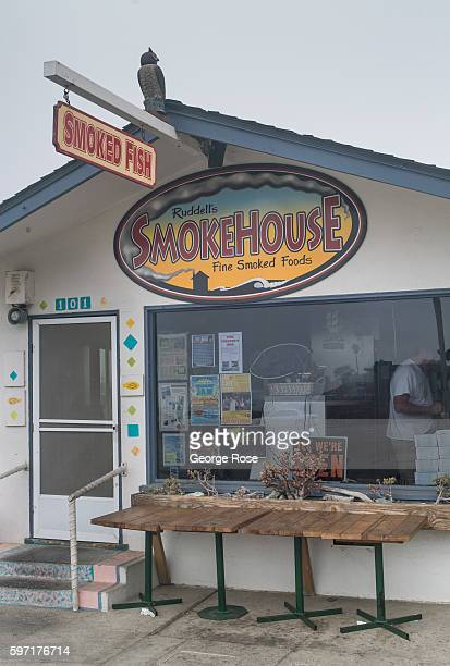 The entrance to the popular Ruddell's Smokehouse smoked foods restaurant is viewed on August 13 in Cayucos, California. Because of its close...