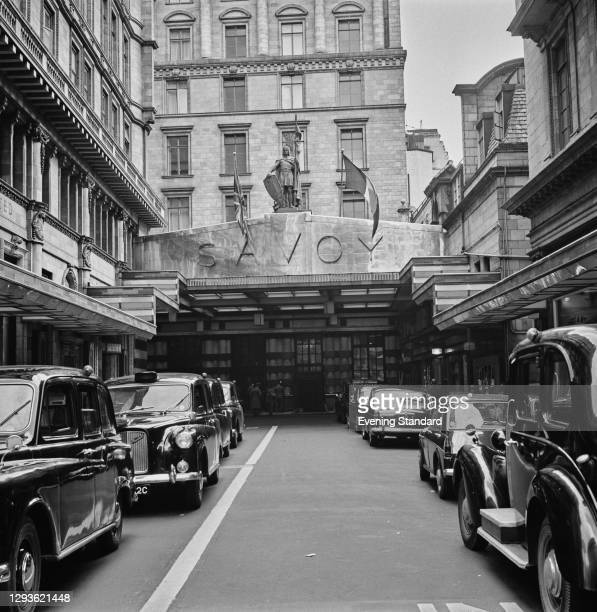 The entrance to the Savoy Hotel on the Strand in London, UK, 1966.
