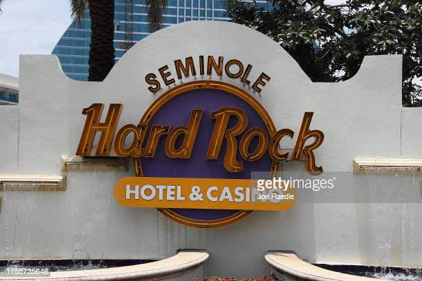 The entrance to the Seminole Hard Rock Hotel & Casino is seen on June 13, 2019 in Hollywood, Florida. The Seminole Tribe has notified the state of...