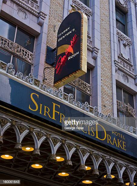 The entrance to the Sir Francis Drake Hotel is viewed on December 22 in San Francisco California Despite cold and rainy weather San Francisco is...