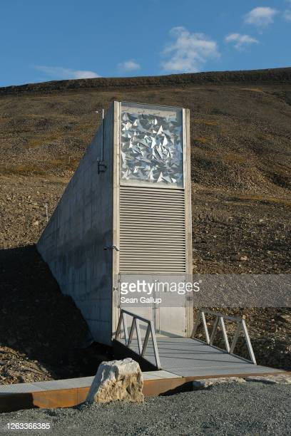 The entrance to the Svalbard Global Seed Vault during a summer heat wave on Svalbard archipelago on July 29 2020 in Longyearbyen Norway The Svalbard...