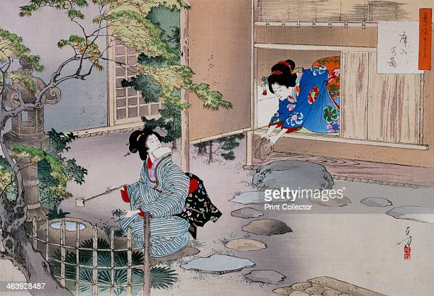 'The Entrance to the Tea Rooms' c18861908 A geisha kneels before a shrine in a courtyard while a second geisha places a pair of shoes on the ground