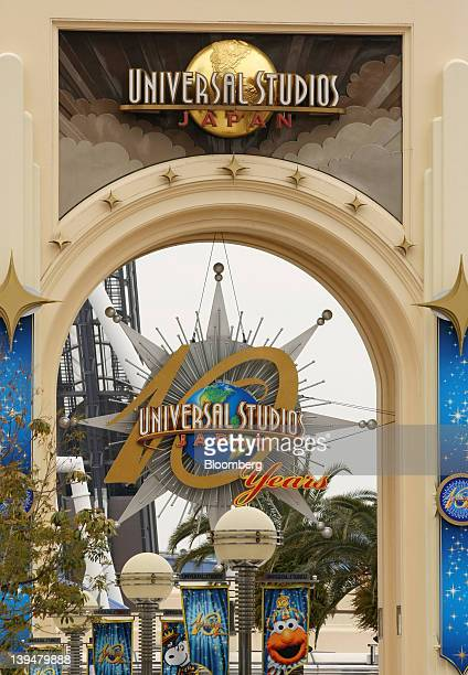 The entrance to the Universal Studios Japan theme park stands in Osaka Japan on Wednesday Feb 22 2012 The Kansai region including Osaka is an area...