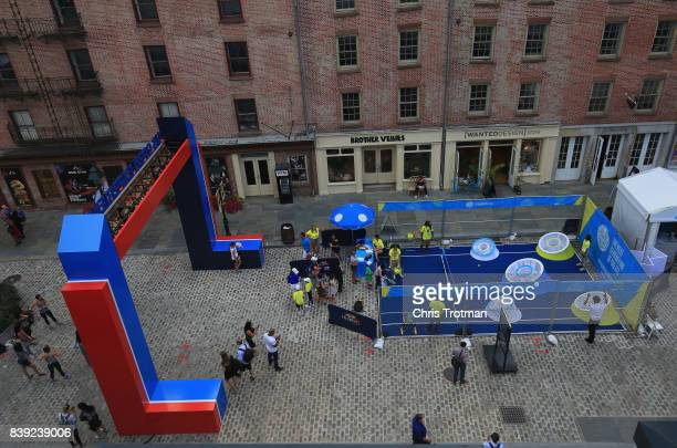 The entrance to the US Open Experience is seen prior to the start of the 2017 US Open at the South Street Seaport on August 24 2017 in New York City