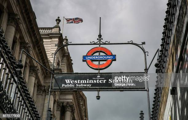 The entrance to the Westminster Underground Station is viewed on September 13 in London England Great Britain's move toward 'Brexit' or the departure...