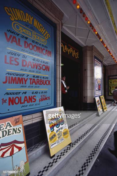 The entrance to the Winter Gardens theatre which is advertising shows by Les Dawson The Nolans Jimmy Tarbuck and Val Doonican in the seaside town of...