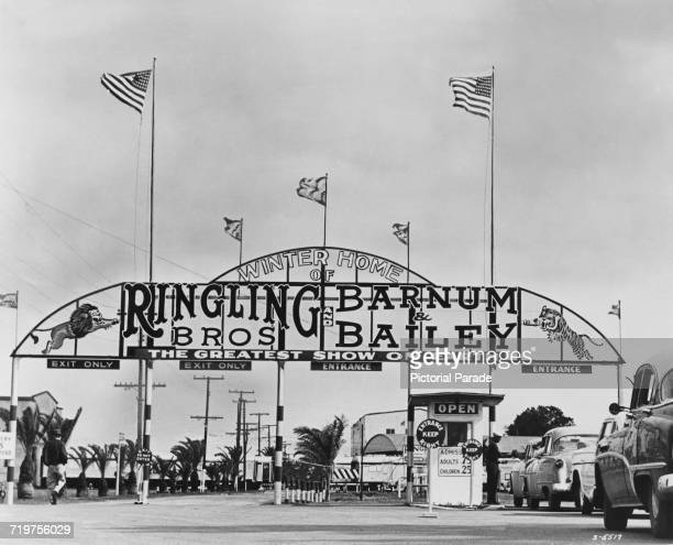 The entrance to the winter quarters of the Ringling Bros. And Barnum & Bailey Circus, in Sarasota, Florida, circa 1955.