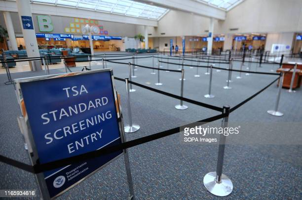 The entrance to TSA security screening is seen at Orlando International Airport after the airport was closed on September 3 2019 as Hurricane Dorian...