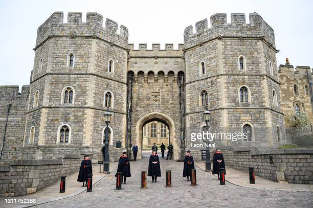 The entrance to Windsor Castle is seen the day after Prince Philip, Duke of Edinburgh, died aged 99, on April 10, 2021 in Windsor, United Kingdom....
