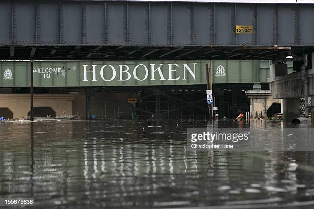The entrance way to Hoboken from Jersey City on the morning after the storm October 30th 2012 which brought widespread flooding to downtown Jersey...