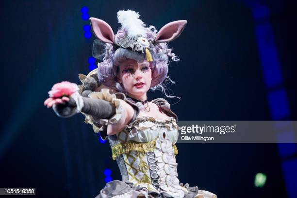 The entrant from Latvia Dinarin performs in character as The March Hare from the Sakizou Alice in Wonderland artwork serie during the final of The...