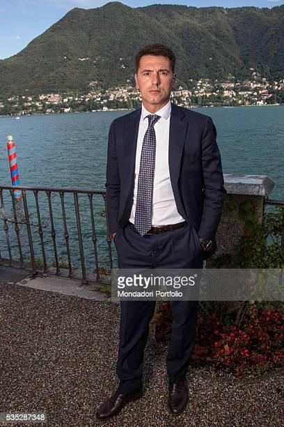 The entrepreneur Davide Serra wearing a suit by Boggi Milano at the Forum Ambrosetti in Villa d'Este Cernobbio Italy 5th September 2015