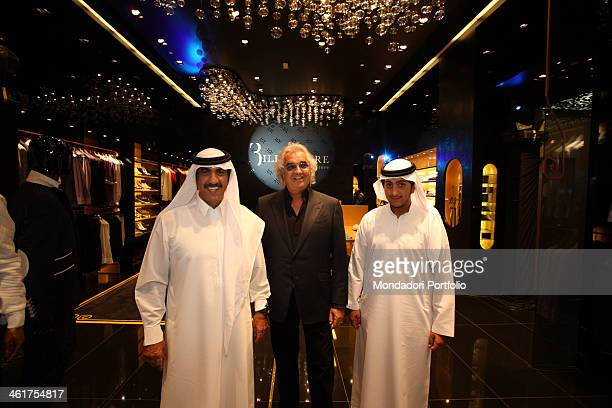 The entrepreneur Flavio Briatore and the BinHendi Enterprise President Mohidin BinHendi photographed in Dubai during the opening evening of the...