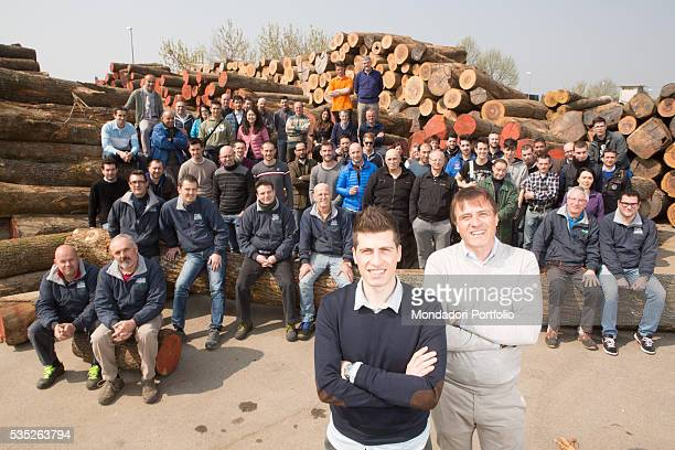 The entrepreneur Patrizio Dei Tos with his son Matteo in the sawmill of his company of wooden floors Itlas Cordignano Italy 10th April 2015
