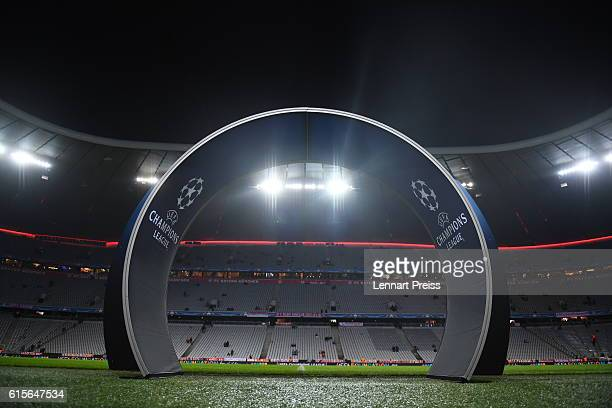 The entry arch to the pitch is seen prior to the UEFA Champions League match between FC Bayern Muenchen and PSV Eindhoven at Allianz Arena on October...