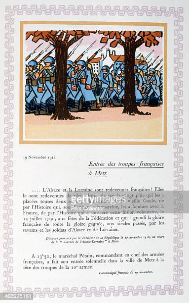 The entry of French troops into Metz 19th November 1918 A book of the principal events of the war period A print from Le livre des heures héroïques...