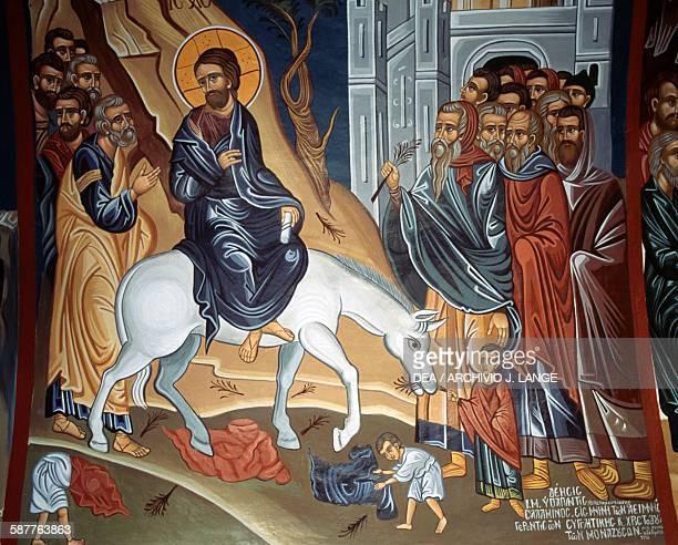 The entry of Jesus into Jerusalem modern fresco in a church in Kastri Mani peninsula Peloponnese Greece