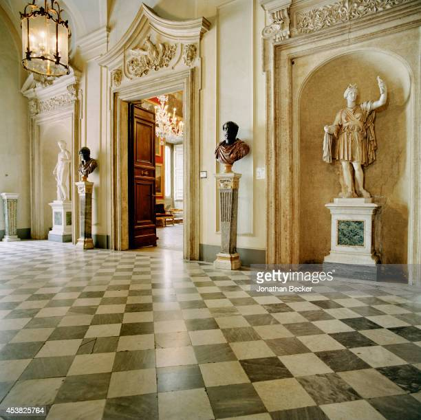 The entry to the piano nobile the principal floor of the palazzo is photographed for Vanity Fair Magazine on April 26 2011 in the Palazzo Doria...