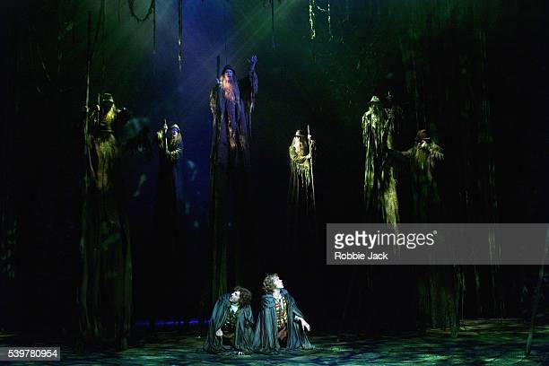 The Ents of Fangorn Forest in the musical production of The Lord of the Rings at the Theatre Royal Drury Lane London