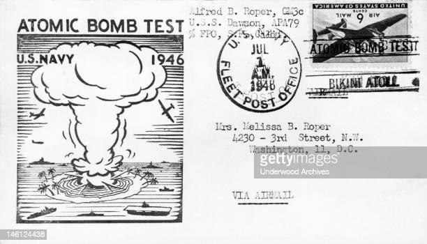 The envelope commemorating the first atomic bomb test at Bikini Atoll Bikini Atoll Marshall Islands July 1 1946 The bikini swimwear was introduced...