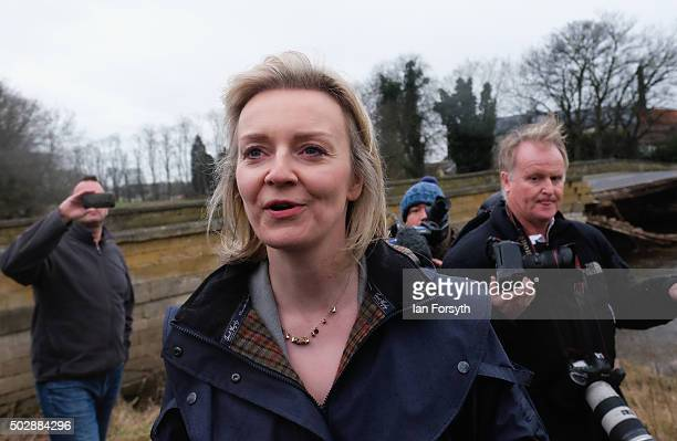 The Environmental Minister Elizabeth Truss visits the bridge over the River Wharfe in Tadcaster which collapsed recently after heavy flooding on...