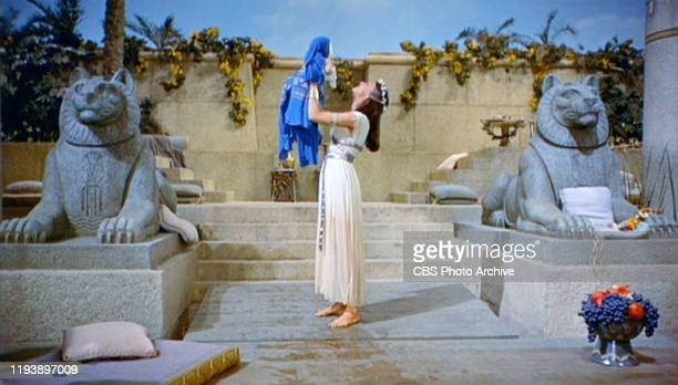 The epic movie The Ten Commandments directed by Cecil B DeMille Seen here Bithiah holds baby Moses Initial theatrical release October 5 1956 Screen...