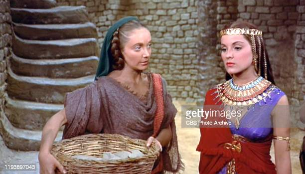The epic movie The Ten Commandments directed by Cecil B DeMille Seen here Olive Deering as Miriam and Debra Paget as Lilia Initial theatrical release...