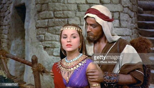 The epic movie The Ten Commandments directed by Cecil B DeMille Seen here Debra Paget as Lilia and John Derek as Joshua Initial theatrical release...