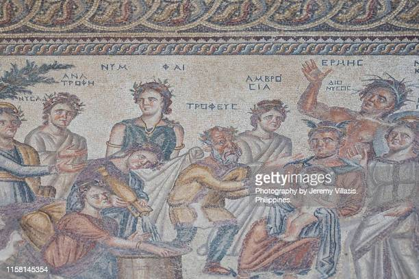 the epiphany of dionysus mosaic, paphos archaeological park - ancient greece photos stock pictures, royalty-free photos & images